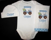 Custom Personalized Applique Gingham GOLF CART and NAME Bodysuit, Ribbon Burp Cloth, and Hat Set - Blue, Lime Green, and Brown