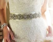 """Crystal Rhinestone & Pearl Bridal Sash, Wedding Belt, Ivory Crystal Bridal Sash, 24"""" of Rhinestones"""