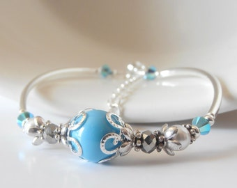 Turquoise Swarovski Pearl Bracelet, Bridesmaid Bracelet, Beach Weddings, Blue Bridesmaid Jewelry Gift for Maid of Honor, Handmade