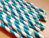 Set of 25 - TURQUOISE Stripes Paper Straws - Vintage Paper, Mason Jar, Wedding, Baby Shower, Tea Party, Bridal, Engagement Party