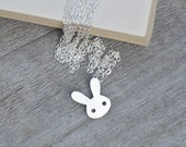 bunny rabbit necklace in sterling silver, handmade in England