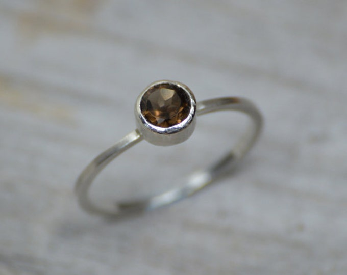 Smokey Quartz Ring Set In Solid Sterling Silver, Quartz Stacking Ring, Engagement Ring, Coffee Color Quartz Ring