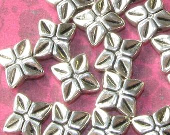 30 Square Spacer Beads Silver Tone 3 x 6 x 7mm (double sided)