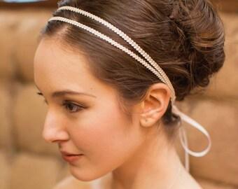 Double Bridal Headband   Wedding Hairband   Bridal Hair Accessory [Athena Headband: Ivory]