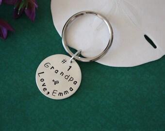 Grandpa Key Charm Sterling Silver, Grandpa Tag, Number 1, Hand stamped Key Chain, Chain