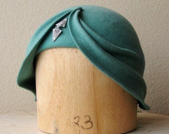 "Mint Green Wool Felt Asymmetrical Draped Hat - The Wave Cloche - Art Deco Turban Cloche - Size 23"" - Ready To Ship"