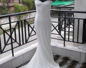 Corsetted Chiffon Flowy Wedding Dress