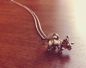 Triceratops Dinosaur Necklace on .999 Fine Sterling Silver Plated Chain, Nickel Free Jewelry, Free US Shipping.