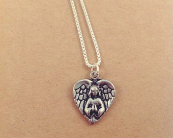 Angel Heart Wings Charm Necklace on .999 Fine Sterling Silver Chain, Lead and Nickel Free, Free US Shipping.