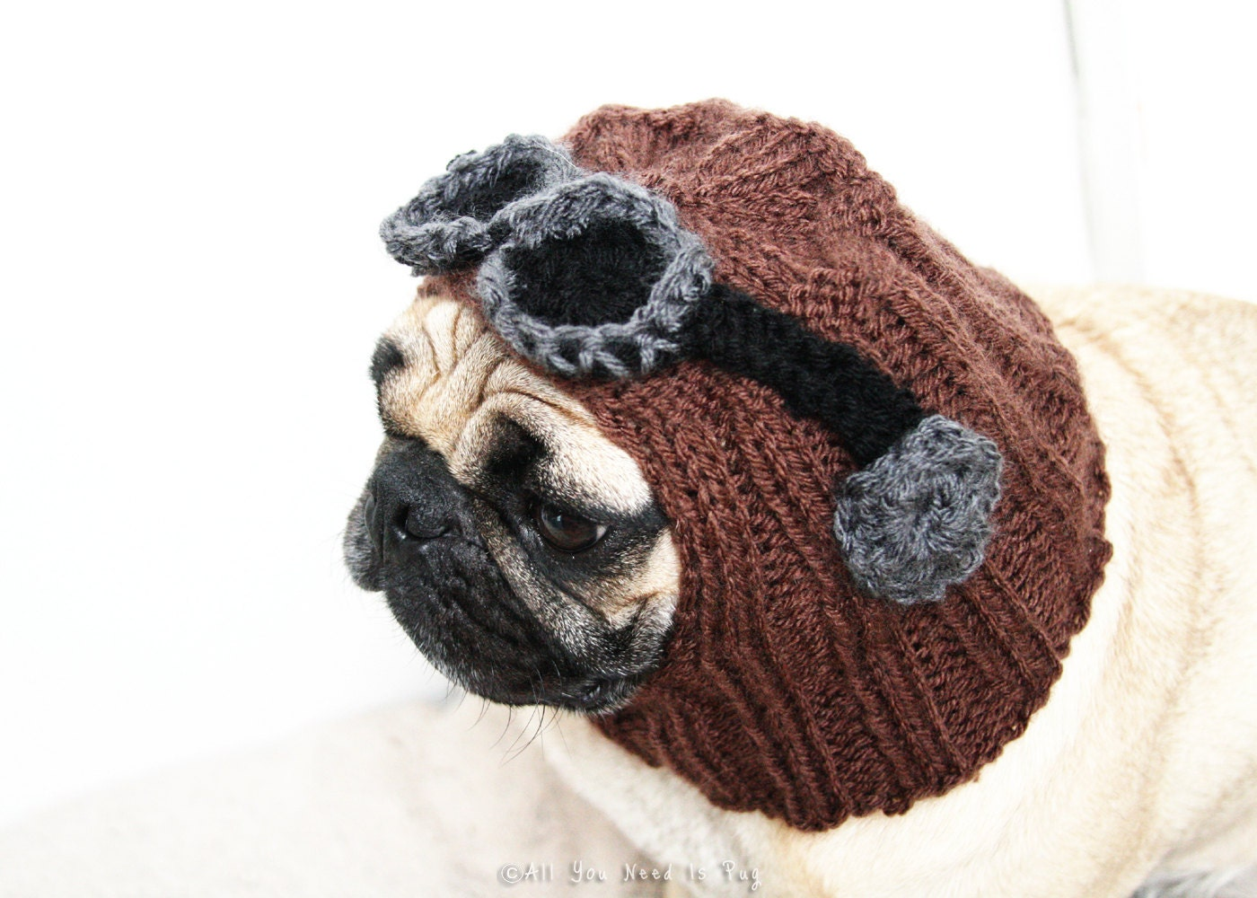 Knitting Pattern For Pug Hat : All You Need is Pug Aviator Dog Hat Pug Hat Pug Clothing