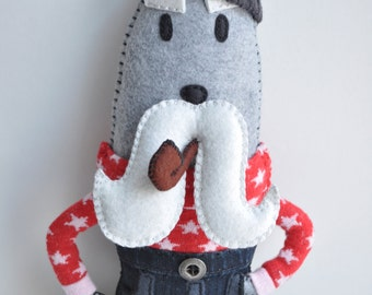 Animal Doll - Walrus Art Plush - Gustav Walrussen - sailor writer plush with mustache- hand sewn- AS SEEN in Stuffed MAGazine - OOAK