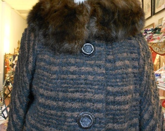 "1960's, 38"" bust, dark brown and black stripped mohair and fur collared jacket."
