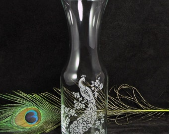 Peacock Wedding Wine Carafe, Vase, or Wine Unity Ceremony, Etched Glass Gift for Couple or Mom