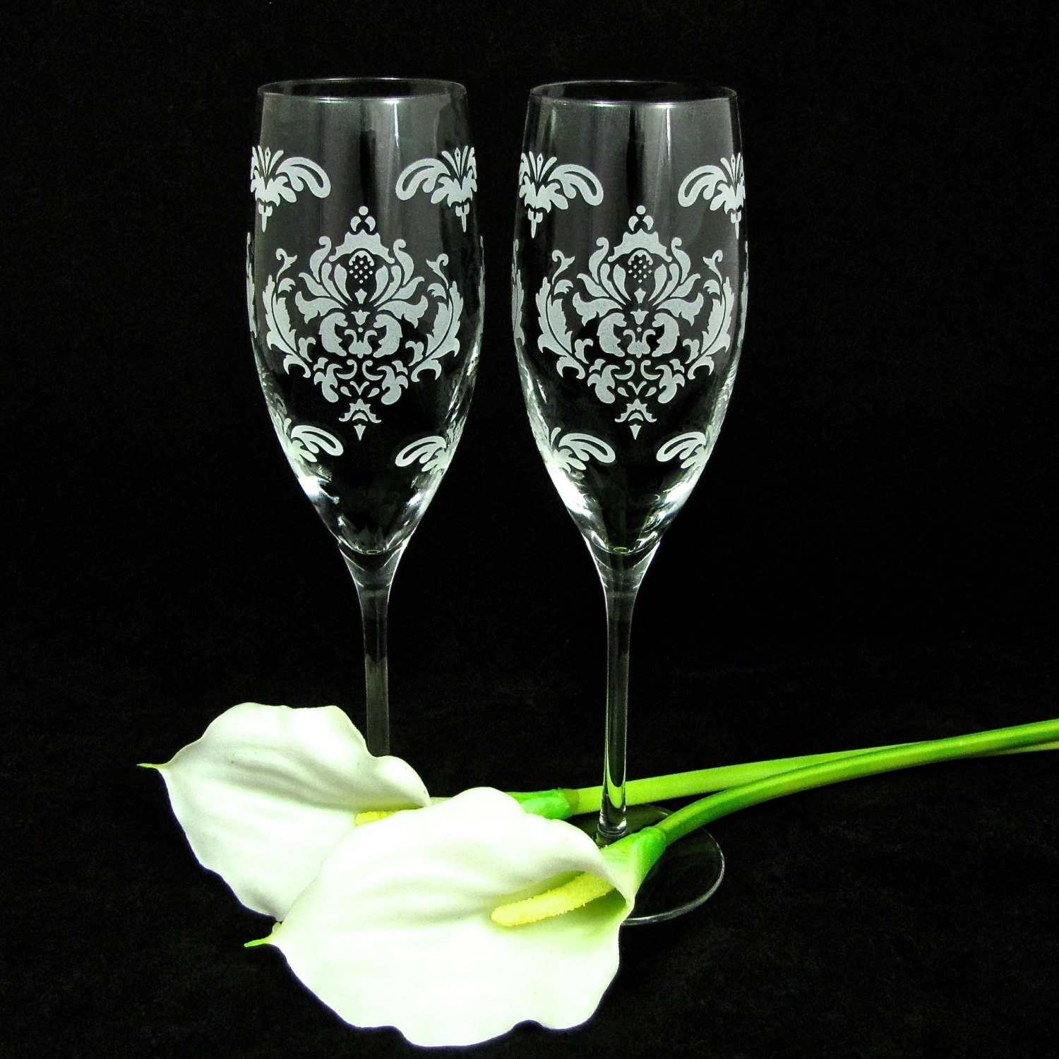 damask wedding toasting flutes personalized fine crystal