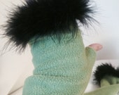 Green Gloves with Black Feather trim, long fleece Fingerless Gloves