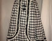 Vintage Black and White Swing Skirt Gingham