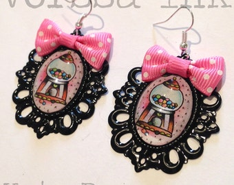Old School Pin Up- Style bubble gum machine Earrings, black, kata puupponen tattoo flash