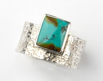 Handmade Sterling Silver and Natural Turquoise Ring Size 6.75 7 Textured