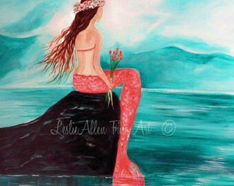 "Mermaid Art Print Little Mermaid Girl PINK Mermaid Theme Wall Art Nursery Art Little Girls Room Decor ""MERMAID DREAMS"" Leslie Allen Fine Art"
