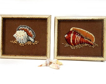 Hand Embroidered Shell Pictures 1980s Framed Beach Decor
