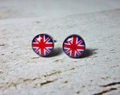 Mini Union Jack Flag Round Stud Earrings