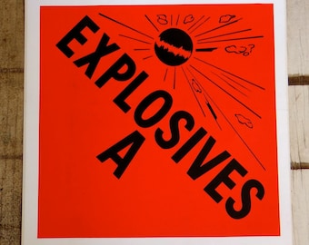 Explosives A large vintage stickers mad scientist experiment graphic art design goth punk rocker altered art supplies collage DIY lot of 5