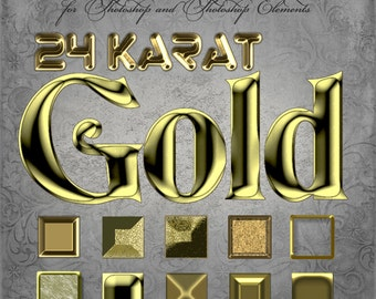 Photoshop Layer Styles - Designer Gems - 24kt GOLD - 1 Photoshop Style file (.ASL) containing 10 unique Styles to add to your Text.