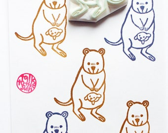 quokka hand carved rubber stamp. australian animal stamp. mom and baby stamp. birthday card making. baby shower scrapbooking. gift wrapping
