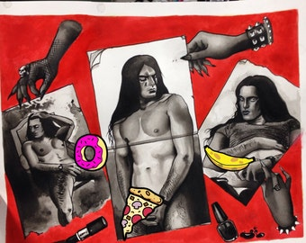 Peter Steele Type O Negative Tattoo flash print gothic girls school locker
