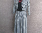 1950s Vintage Rayon Dress & Cropped Jacket Set, Black White Houndstooth Check, Box Pleat Skirt, 2 Piece Dress, Day Office Classic Bust 36 37