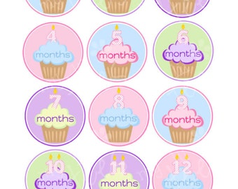 MONTHLY IRON-ONS Decals or Monthly stickers - 12 Monthly iron on heat transfer - for Baby girl - cupcakes (Style#A29)