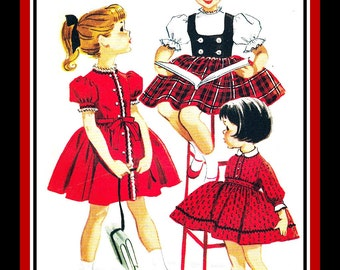 Vintage 1959-Cutielicious Toddler Dress-Sewing Pattern-Three Styles-Contrast Weskit-Twirl Skirt-Rick Rack & Lace Trim-Size 6-Rare