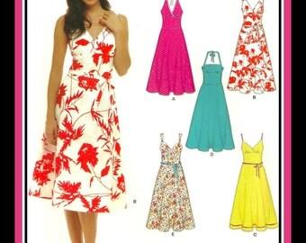 PIN-UP HALTER Dress-Five Sexy Styles-Shaped Midriff-Deep V Neckline-Contrast Trim-Flared Flirt Skirt-Uncut-Size 8-18-Rare