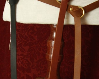 Long Leather Ring Belt - Medieval Renaissance Burning man- charcoal gray, Caramel brown, or black leather  SCA Garb, LARP renfaire pirate co