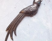 Huge Vintage Mexico Repousse Silver Quetzal Bird Brooch with Turquoise Cabachon Eye
