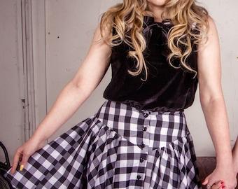 Black Gingham Western Skirt, High Waisted Skirt, Retro Style Skirt, Rockabilly Clothing, Skirt with Yoke, 1950's Style Skirt, Circle Skirt