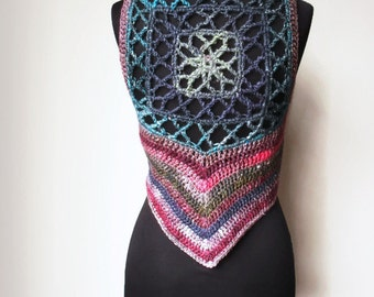 Pixie Psy Gypsy Wool Silk Mandala Vest Waistcoat Multicolored Pink purple blue green Burning Man Festival Fae Fairy Ready to Ship