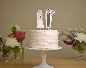 Bride and Groom with Flags - Wedding Cake Topper
