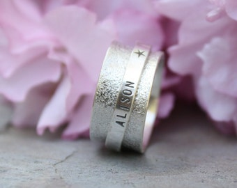 Spinner Ring - Mothers Ring - Personalized Ring - Worry Ring - Sterling Silver Ring