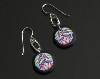 Modern Art Earrings, Unique Psychedelic Earrings, Polymer Clay Dangle, Contemporary Earrings, Unique Jewelry Gift for Her, Womens Gift