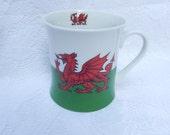 red dragon cup mug, vintage Leonardo collection, fine china tea coffee mug, dragon on both sides