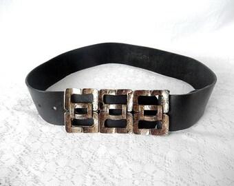 vintage leather belt, large metal buckle, genuine leather, bronze color rectangular buckle, vintage accessory