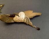 Garnet, Heart Necklace, Red Gemstone, Cherub Wing, Valentine's Day Gift, Birthstone, Marsala