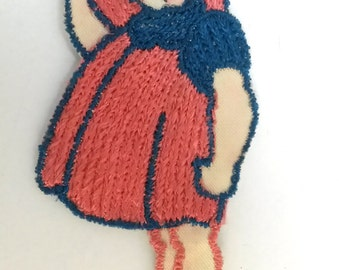 VINTAGE HANDMADE APPLIQUE patch, toddler girl, kitschy linen, 1950s patch, cute toddler, little girl, embroidered art, hand made, kewpie