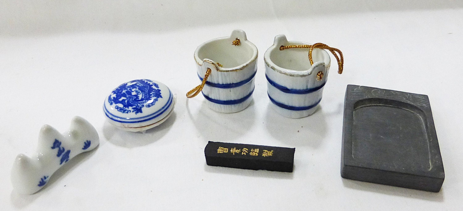 Calligraphy Chinese Set Ink Stone Writing Painting By