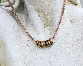Metallic Copper Necklace - Minimalist, Modern, Czech Glass, Rings, Chain, Gift for Her