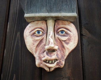 Brush Man ceramic mask-ceramic art mask-wall mask