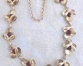 Vintage Signed Duane Adjustable Flower Necklace w/ Prong Set Red Rhinestones