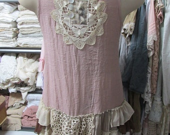 SALE... Vintage Kitty.. shabby chic, upcycled layered tunic #3..,vintage doilies,mushroom, natural, ecru, ruffles, layers.. size Medium