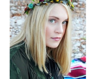 Colorful flower crown Wedding hair accessories Robin egg blue burgundy turquoise gold hair wreath felted flowers Bridal halo garland